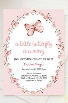 Butterfly Invitations, Butterfly Birthday Party, Butterfly Baby Shower, Pink Butterfly, Baby Girl Shower Themes, Baby Shower Invitations For Boys, Birthday Invitations, 21st Birthday Themes, Birthday Ideas