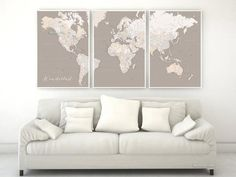 """Highly detailed word map poster set in earth tones, set of 3 split posters in 24x36"""" each, Wanderlust"""