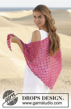 """Crochet DROPS shawl with spaces and double treble-groups in """"Merino Extra Fine"""". ~ Free, thanks so xox"""