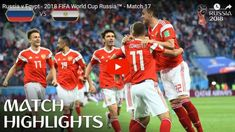 A stunning win for Russia that all but guarantees their passage to the round of Find out where to watch live: More match highlights: ht. World Cup Russia 2018, World Cup 2018, Fifa World Cup, World Cup Match, Fifa 20, Match Highlights, Egypt, Baseball Cards, Sports