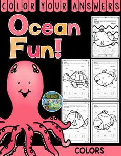Know Your Colors Ocean Fun - Color Your Answers Printables for some Ocean Themed Math Fun in your classroom! #TPT #FernSmithsClassroomIdeas