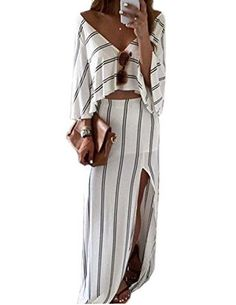 EkarLam Womens Casual Stripe V Neck Half Sleeve Split Crop Top Shirt Skirt 2 Pieces Set ?blend fabric keeps you comfortable ?V Neck Stripe Crop Tops Side Split Midi Skirt Outfit Two Piece Dress ?Occasion: party, club, evening, prom,cocktail,gown,casual,beach ?Size:S,M,L, All size is asian size,not US/European size,there will be 1-2 size smaller ?Cold water Hand gently wash / Dry cleaning for best result / No bleach/ Hang Dry
