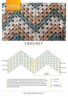 This is an awesome zig zag pattern to crochet. You can do this pattern with a treble crochet, a double crochet, or a half-double crochet. Crochet Stitches Free, Crochet Motifs, Crochet Diagram, Crochet Chart, Crochet Blanket Patterns, Diy Crochet, Crochet Blankets, Afghan Patterns, Crochet Flower