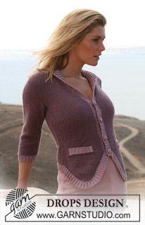 """BMD-Blazer: DROPS jakke med 3/4-lang erm i """"Silke-Alpaca"""" med vrborder i """"Cotton Viscose"""". Str S til XXXL ~ DROPS Design"""