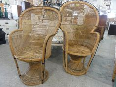 Pair Child's King and Queen Fan Chairs