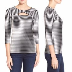 Vince Camuto striped cutout top Super chic striped cut out detail top by Vince Camuto. Stripes are so chic and classic! Like new! Vince Camuto Tops