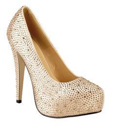 Anne Michelle Ladies gold satin and diamante high heel platform shoe