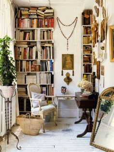 .lovely writing and reading nook... the worn painted floor....