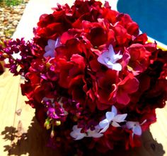 Red  Wedding Bouquet Hydrangea Red and White Bouquet  Wedding Accessory Bridal Bouquet