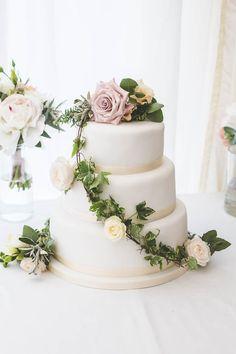 Pastel Flower Yellow Cake DIY Pretty Pink Bluebell Woods Wedding http://kirstymackenziephotography.co.uk/
