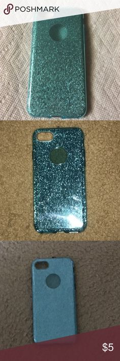 Blue Glitter iPhone Case This is a beautiful plastic silicone material iPhone 7 case with blue glitter design. Case is smooth to the touch. I bought this from another posher but I don't use it anymore. It's in perfect condition because I didn't use it that much! Accessories Phone Cases