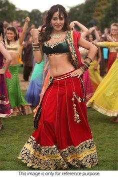 Bollywood Style Neha Sharma Red & Green Georgette Lehenga  #Lehenga #Red… …