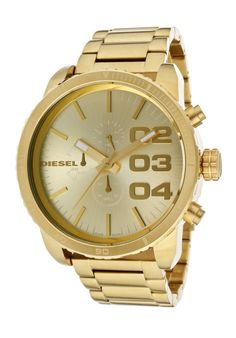 New Diesel DZ4268 Franchise Gold Tone Stainless Steel Chronograph Mens Watch
