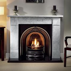 Brompton Cararra Marble Fireplace Package with Landsdowne Cast and Granite Hearth Marble Fireplace Surround, Black Fireplace, Concrete Fireplace, Fireplace Hearth, Marble Fireplaces, Fireplace Surrounds, Fireplace Design, Fireplace Ideas, Fireplace Gallery