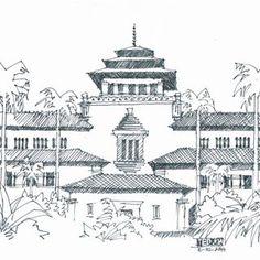 Studi Arsir 8 #gedungsate #bandung #ink #drawing #pen #art City Sketch, Pen Art, Big Ben, Taj Mahal, Ink, Studio, Drawings, Sketches, Illustration