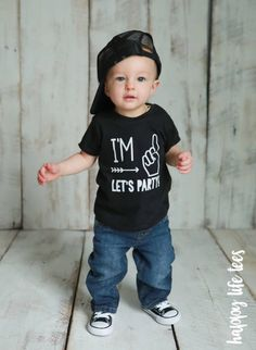 First Birthday Shirt Im One Lets Party Boys 1 Year
