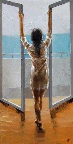 Back view of woman opening windows art