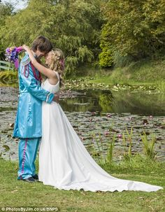 Beatles superfans Rebecca and Mark Wright after their groovy, flower power-themed nuptials at a Bennetts Water gardens in Weymouth.