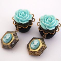 9/16 Gold and Baby Blue Rose & Locket Plugs://www.etsy.com/listing/102310839/916-inch-14mm-baby-blue-locket-dangle