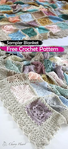 Sampler Blanket Free Crochet Pattern #crochet #crafts #homedecor #style #ideas #blanket #handmade #homemade