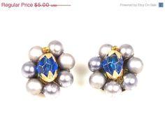 Vintage Blue Silver Bead Clip On Earrings Japan #etsy #jewelry