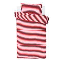 Tasaraita duvet cover and pillow case 120x160 cm, red-white, by Marimekko.