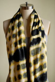 MUGISHA Scarf Yellow/Black Blessing in Kinyarwanda by HeshimaKenya -- Every Maisha Collective one-of-a-kind, hand-crafted scarf purchase provides a future of independence for a young refugee girl supported by Heshima Kenya.