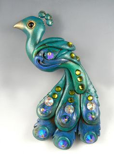 polymer clay art peacock inspiration by Christi Friesen