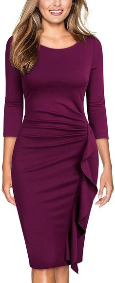 Miusol Women's Retro Ruffles Sleeve Slim Business Pencil Dress (Small, B-Magenta) Elegant Outfit, Classy Dress, Elegant Dresses, Beautiful Dresses, Fitted Dresses, Dresses Dresses, Cocktail Vestidos, Dress Outfits, Fashion Outfits