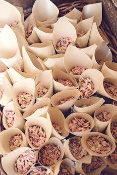 Confetti cones, wedding ideas from Hengrave Hall.