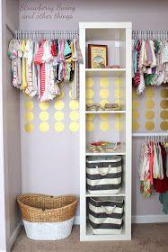 A precious child's closet redo tutorial that uses: an Ikea shelf unit + Urban Walls gold dots + Lowe's closet bars! // StrawberrySwingAndThings.com - #GirlsRoom #DIY #Closet Ikea Closet Organizer, Nursery Closet Organization, Nursery Storage, Closet Storage, Home Organization, Closet Shelving, Open Shelving, Organizing, Kallax Shelving