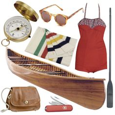 Living In: The Parent Trap | Design Sponge ...that vintage red & plaid bathing suit, the L.L. Bean bag, and sunglasses... I'm in love!!! <3