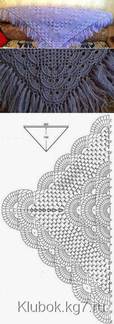 Шаль с веерным узором | Вязание крючком и спицами | Шаль | Постила