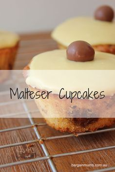 These Malteser cupcakes are, as the name suggests, stuffed full of crushed Maltesers.  To finish them off, the cupcakes are smothered with caramel icing  , and topped with a Malteser.