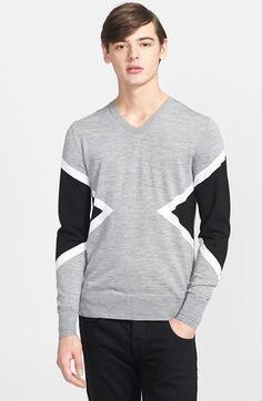 Neil Barrett 'Modernist' Colorblock V-Neck Sweater