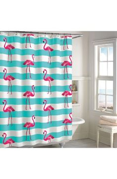 Free shipping and returns on Destinations Pink Flamingo Shower Curtain at Nordstrom.com. A flock of pink flamingos adds a splash of color to a cotton shower curtain that's sure to give your bathroom an instant refresh.