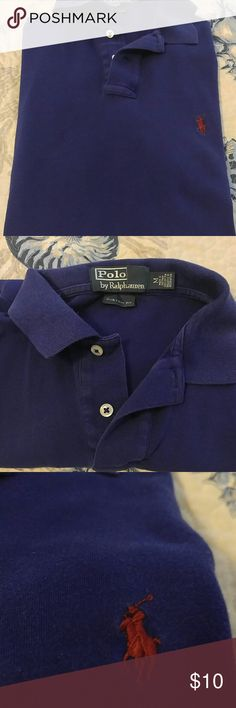Gently worn Mens polo by Ralph Lauren POLO Med Gently worn mens polo the soft knit by Ralph Lauren POLO size med in navy with dark red polo Ralph Lauren Shirts Polos
