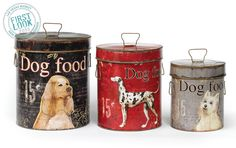 Bark for Food Treat Tins (Set of - Corral the kibble and the cookies in this three-size set of retro paper covered tins with snug, Fido-proof lids. Iron accents must love dogs (and cats) I think i have to have these Vintage Dog, Vintage Tins, Vintage Style, Pet Accessories, Decorative Accessories, Modern Vintage Decor, Food Canisters, Pet Feeder, Canister Sets
