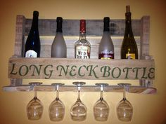 "Reclaimed Wood Pallet Wine Rack ""Longneck Bottle"" Script with wine glass holder"