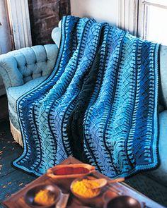 Sooo pretty! Alaskan Blue Tunisian Crochet Blanket. Intermediate, free crochet pattern.