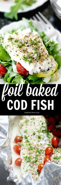 Delicious foil baked Cod fish cooked with grape tomatoes lemon and onion An easy scrod dish to serve with a side salad or in tacos Recipe at Tuna Fish Recipes, Seafood Recipes, Drink Recipes, Healthy Gluten Free Recipes, Healthy Baking, Baked Cod, Fish Salad, Cod Fish, Frases