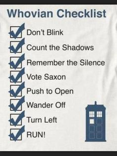 Doctor Who Checklist ~ Must Remember