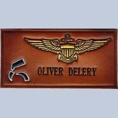 Nametag HSM 78 Navy embossed in leather and hand painted. Leather is shaded. 2x4 inches.