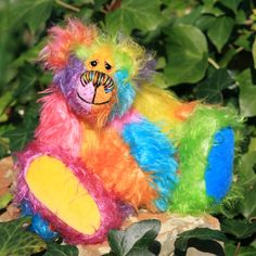 Fizzwizz one of a kind hand dyed mohair artist bear