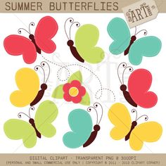 Digital Clipart  Summer Butterflies  DC6056 by MyClipArtStore, $3.50 clipart