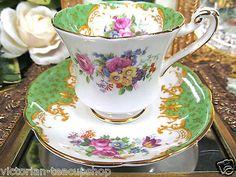 PARAGON TEA CUP AND SAUCER DEMITASSE ROCKINGHAM GREEN PATTERN BIRD FLORAL