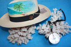 @@@BlackCoral4you Panama Hat ART Original and Black Coral Nature / Sombrero Panama ART y Coral Negro Natural con Turquesa, Madre Perla y Plata de Ley