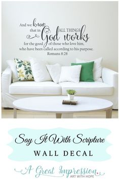 In All Things God works for the good of those who love Him bible verse wall decor ♥ This Romans 8:28 decal of Inspirational words of Truth will add beauty to your home decor • You're going to love how the decal will look like it's been painted onto your wall. Plus, installing is as easy as 1-2-3! • Comes in multiple sizes and a variety of color options to choose from. #romans828