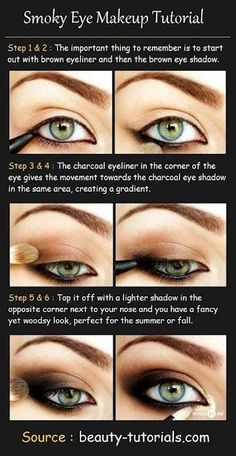 Smokey eye tutorial makeup eye shadow brown.