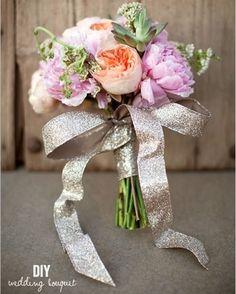 20 DIY Glitter Wedding Theme Ideas & Inspiration | Confetti Daydreams - DIY Wedding Bouquet recipe with pink peonies, succulents and metallic glitter ribbon added for some glam! ♥ #Glitter #Wedding #Theme #DIY
